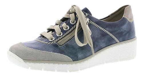Rieker Sneaker blau Schnürschuh sportlich Reißverschluss