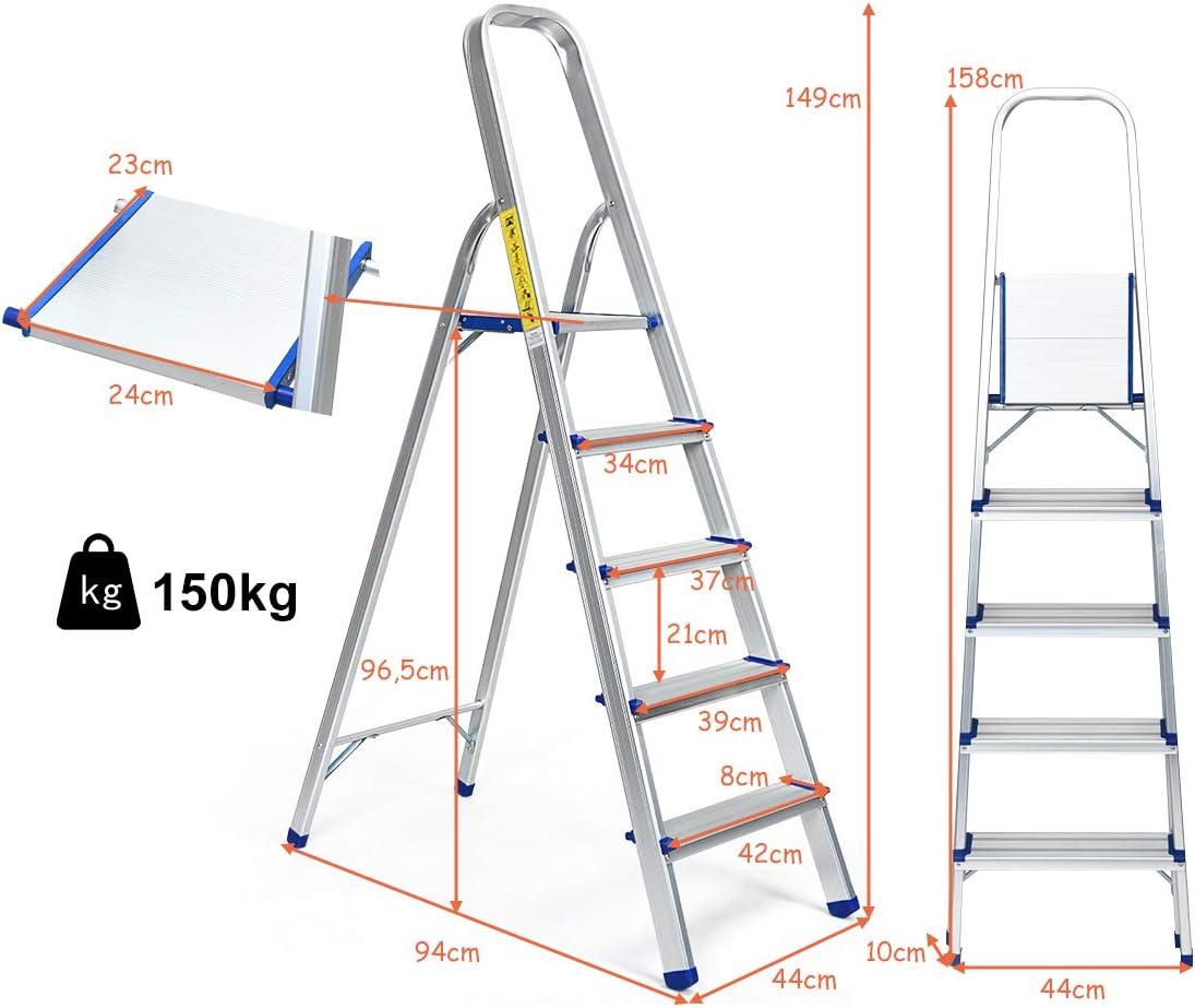 Stufenleiter klappbar Leiter Stehleiter Rutschfest 4 Stufen Ausziehleiter Mehrzweckleiter stabil f/ür innen und drau/ßen DREAMADE Trittleiter aus Aluminium