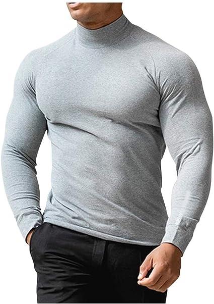 Rollkragen Langarmshirt Sweatshirt Pullover Jumper Shirt Herren Rolli Pulli 2XL
