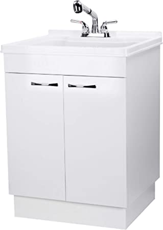 Laundry Cabinet Kit With Pull Out Faucet White Utility Vanity Sink Perfect For Your Mud Room Laundryroom Kitchen Bathroom Or Garage Large Free Standing Wash Station Storage Tubs And Drainage Amazon Com