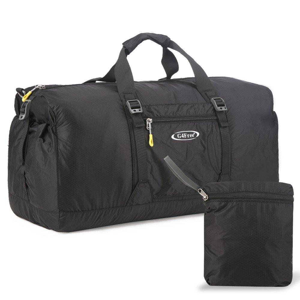 g4free 60l軽量折りたたみ式ポータブル旅行荷物のジムスポーツダッフルバッグキャンプ B01G3IA6JW ブラック ブラック