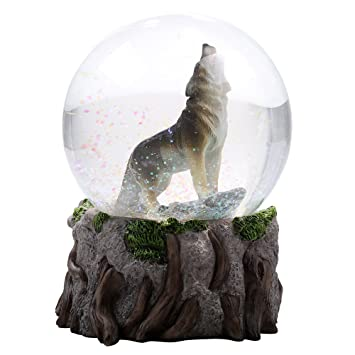 Majestic Lone Wolf Howling Water Globe Collectible Water Ball Home  Decorative Gift Item