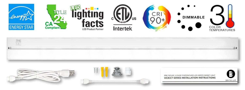Britelum 40 Inch Dimmable LED Under Cabinet Lighting; 3 Adjustable Color Temperature; 2700K/ 3500K/ 4000K w/ CRI90+, Plug in/ Hardwired Under Counter Lighting Kit, 120V 20W 1060 Lumens, White Finish