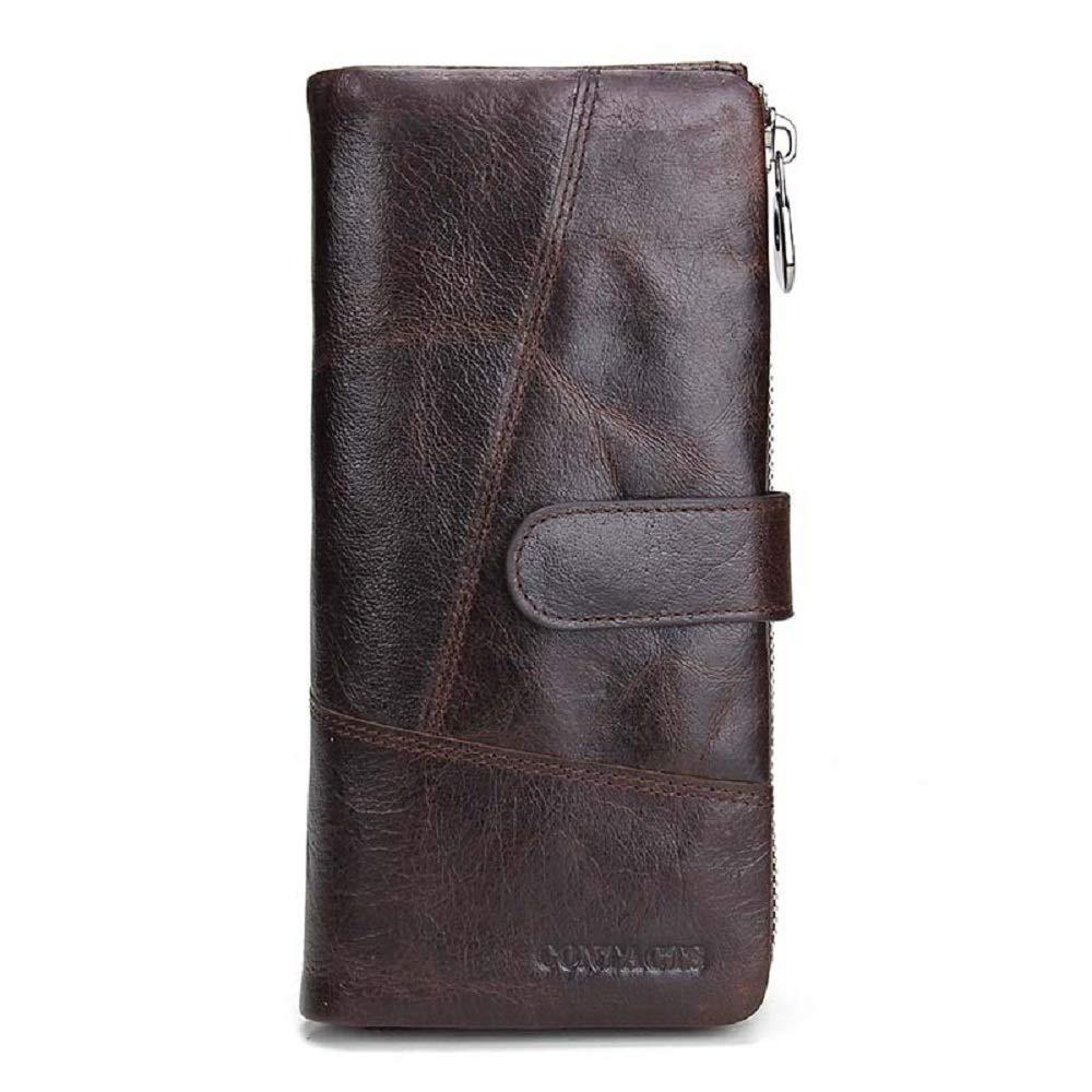 XWH Europäische und amerikanische Lange Herrenbrieftasche, Leder-Nähte, multifunktionale Herren-Lederclips