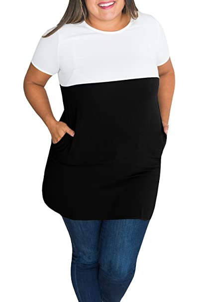 2d79b455884 Womens Plus Size Tops Short Sleeve Summer Tunics Color Block T Shirts with  Pockets Black