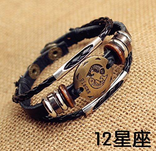 Nameplate Round - Fashion leather cord bracelet round nameplate Zodiac Libra Pisces male and female couple bracelets jewelry