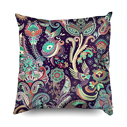 Shorping Decorative Throw Pillow Cover, Home Décor Throw Pillow Cushion Cover Floral Seamless Pattern Vector Indian Decorative Wallpaper Batik Indonesia Colorful Pattern with -