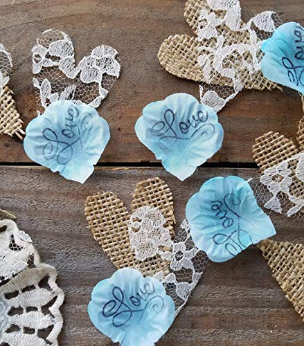 Burlap and Lace Confetti, Rustic Wedding Decorations for Reception Tables, Rustic Bridal Shower, Engagement Party, Rose Petals(150 pieces) ()