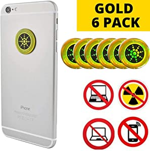 EMF Protection Sticker 6 Pack Gold/Silver | Block Cellphone Radiation | Laptops, Computers, WiFi… (Gold)