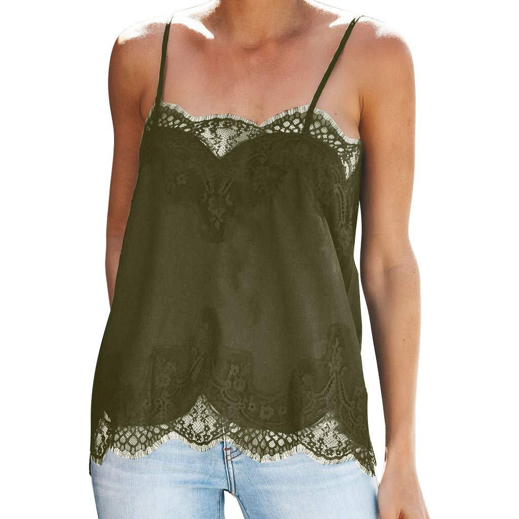 ✔ Hypothesis_X ☎ Women Lace Vest Sleeveless,Women Camisole Plain Strappy Vest Sleeveless Blouse Casual Cami Tank Top Green