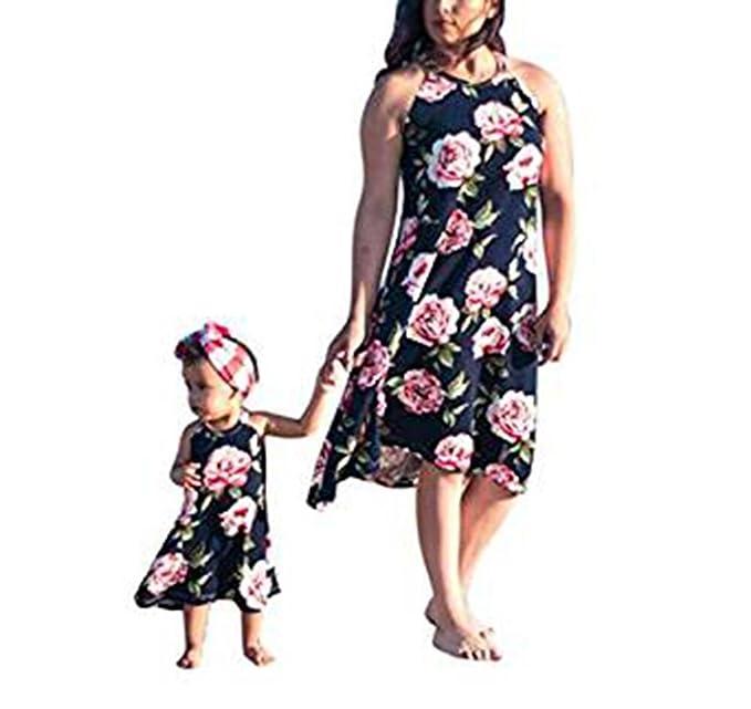 Vestido de bebé Vestido de madre e hija sin mangas Vestido estampado Vestido de mujer Vestido