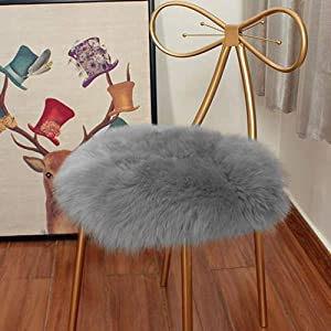 Eanpet Faux Sheepskin Chair Pad Round Cover Seat Cushion Pad Soft Fluffy Area Rug for Area Rugs for Chair Seat Pad Couch Pad Area Natural Rugs Grey 1.5x1.5FT