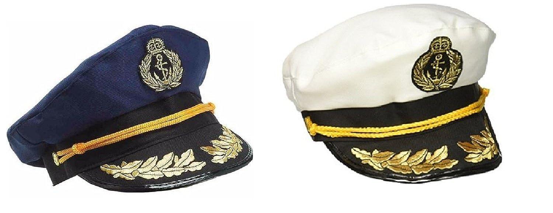 4ac661c84ba Amazon.com  Nicky Bigs Novelties Yacht Captain Hat Sea Skipper White Navy  Blue Sailor Cap Costume Boater Hats Set  Clothing