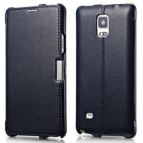 Galaxy Note 4 Case, [Luxury Series] [Genuine Leather] Flip Cover Folio Case [Simple Stand], Corrected Grain Leather Case [1 Card Slot] with Magnetic Closure for Samsung Note 4 (Dark Blue) (Closure Four)