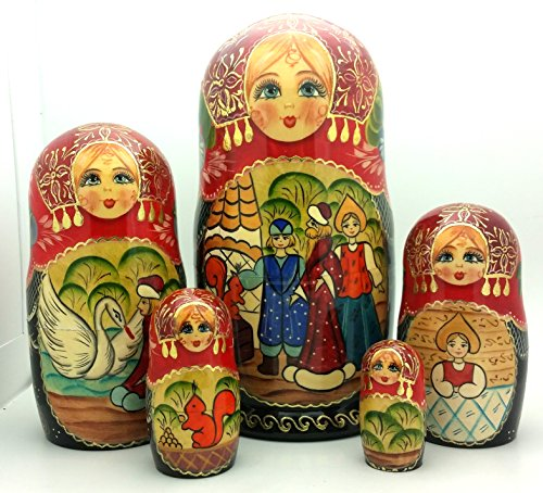 Tsar Saltan fairy tale by Pushkin Russian Nesting doll Hand Carved Hand Painted 5 piece Set 7 tall