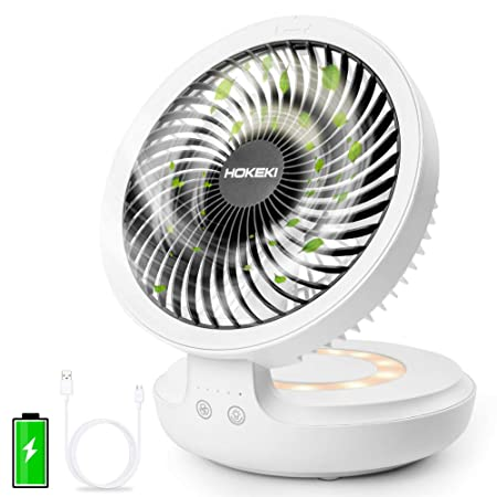 Hokeki Usb Desk Fan With Night Breathing Light, Air Circulator Desk Fan 90 Degree Rotation Portable Foldable Fan For Home, Office, Travel, Camping, Outdoor, Indoor Fan, 4 Speed Setting, White by Hokeki
