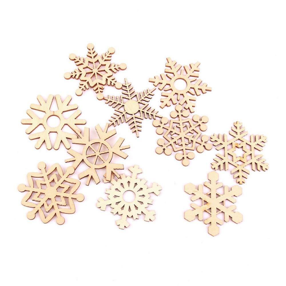 Ogquaton Premium 10pcs Copo de Nieve de Madera chucher/ía decoraci/ón de la decoraci/ón del Banquete de Boda de Navidad