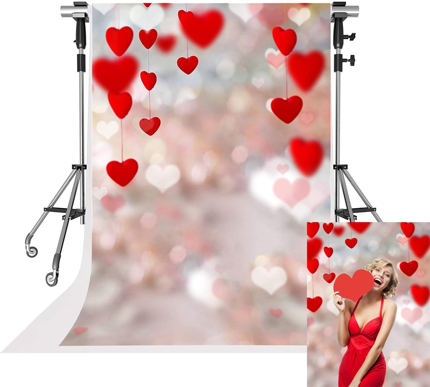 10x10ft Happy Valentines Day Backdrop Hot Air Balloon Graffiti Grunge Brick Wall Photography Background Wallpaper Decor Birthday Wedding Kids Lover Adults Artistic Portrait Studio Props