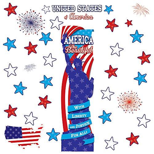 Patriotic Symbols Bulletin Board - Eureka United States School and Classroom Door Décor Kit, 38pc