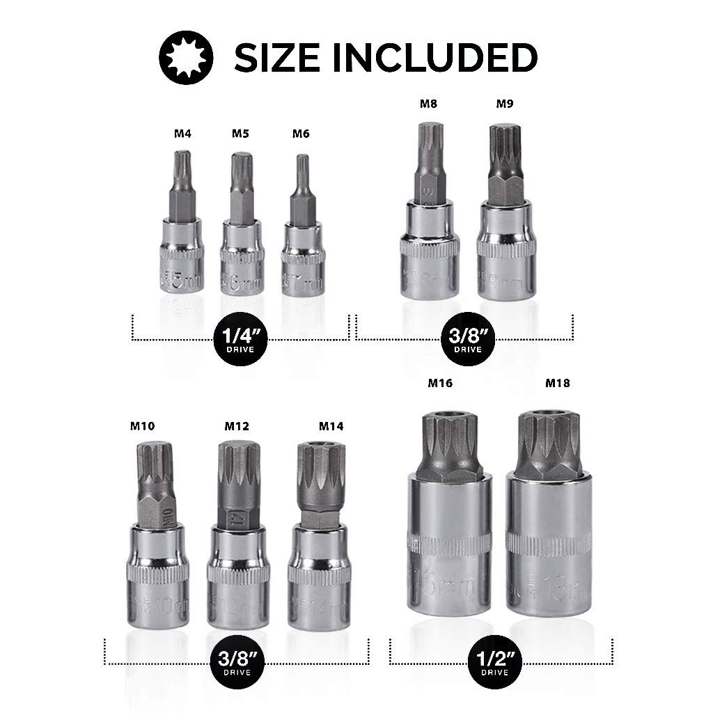 10pc XZN 12 Point MM Triple Square Spline Bit Socket Set Tamper Proof New Case Resist Rusting and Corrosion
