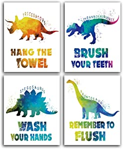 "Dinosaur Watercolor Bathroom Art Prints Set of 4 (8""X10""), Dinosaur Wall Art Poster for Nursery, Boys, Son, Nephew, Kids Bathroom Decor, No Fram"