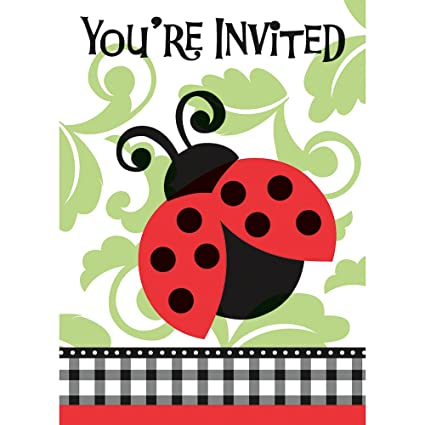 Amazon Ladybug Invitations 8ct Kitchen Dining