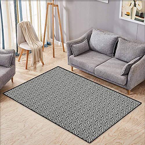 Large Area mat,Geometric,Abstract Lines with Geometric Designs Arabic Influences Oriental Motifs,Anti-Slip Doormat Footpad Machine Washable,4'11