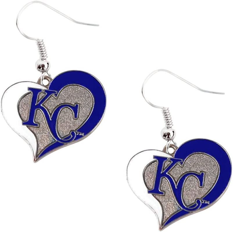 aminco Kansas City Royals KC MLB Swirl Heart Dangle Logo Earring Set