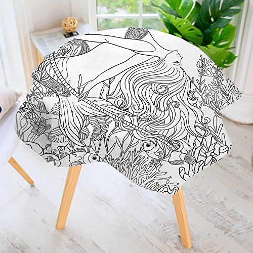 """UHOO2018 Hand Screen Printed Tablecloth-Surreal Little Mermaid Enjoying Undersea Ancient Lady in Coral Reef Artsy Graphic Grey Modern Printed Spill Proof Cloth Round Tablecloths 43.5"""" Round"""