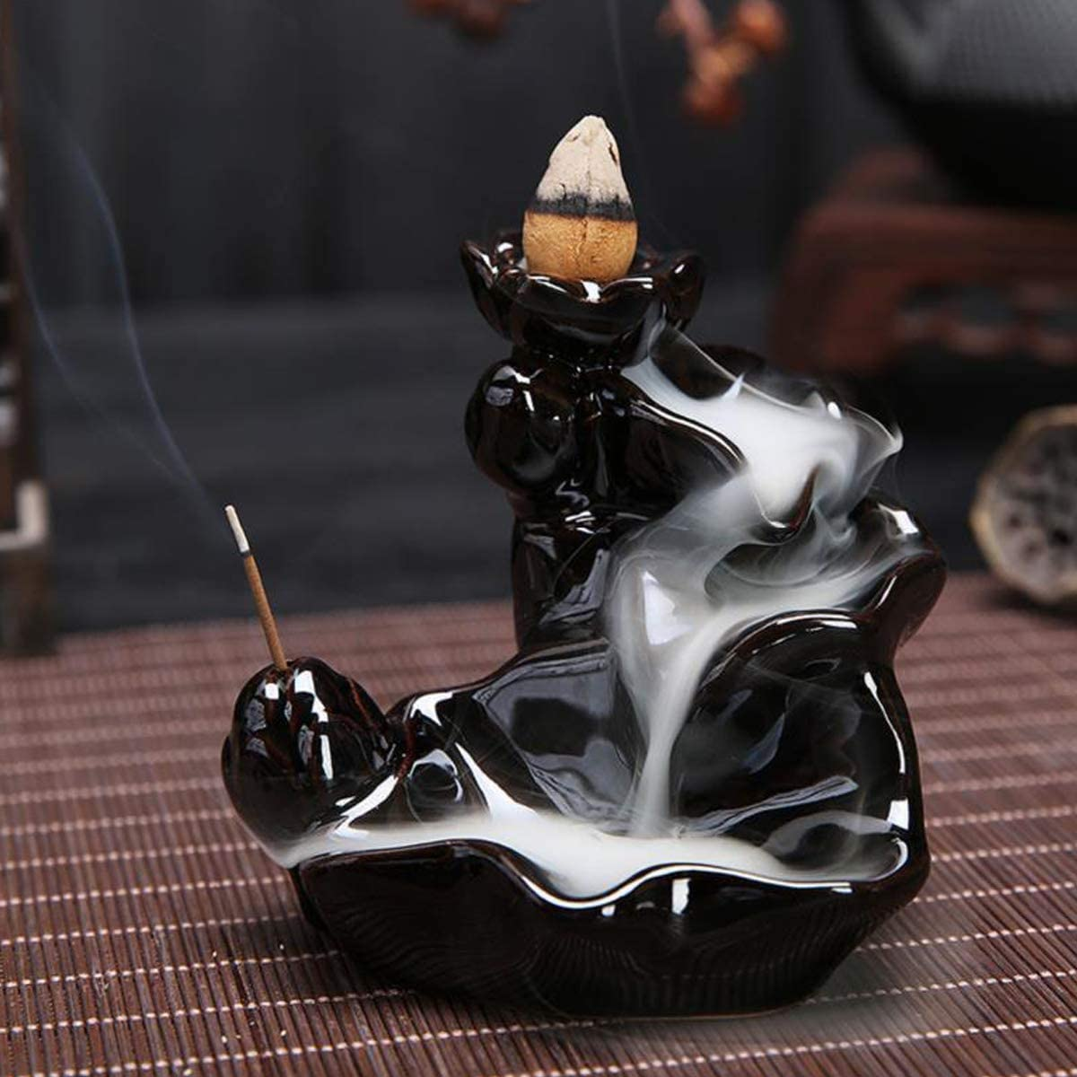 LZWIN Waterfall Backflow Incense Cone Burner Incense Sticks Holder