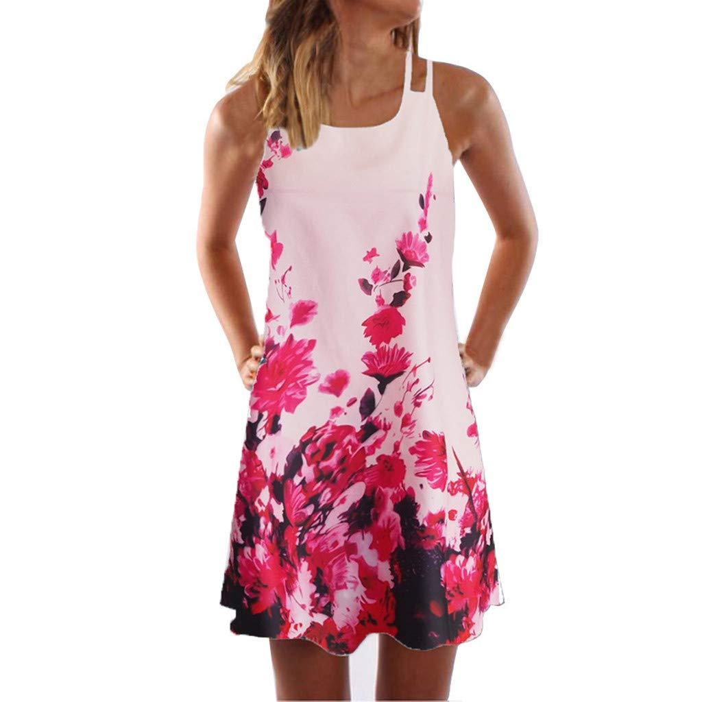 TOTOD Mini Dress Latest Bohemian Printed Sleeveless Beach Short Tank Sundress