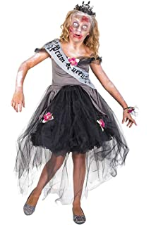 Girls Zombie Prom Queen Costume, for Halloween Party Accessory