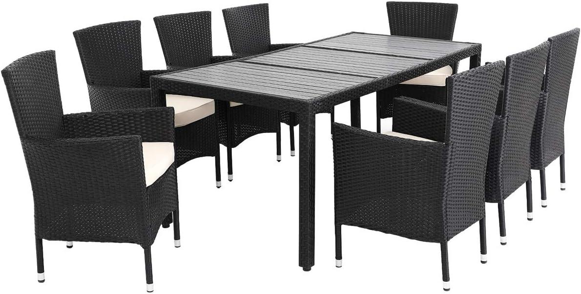 Deuba Conjunto de jardín Set de sillas y Mesa de poliratán Tablero de WPC 8 Sillas apilables con Cojines Muebles Exterior