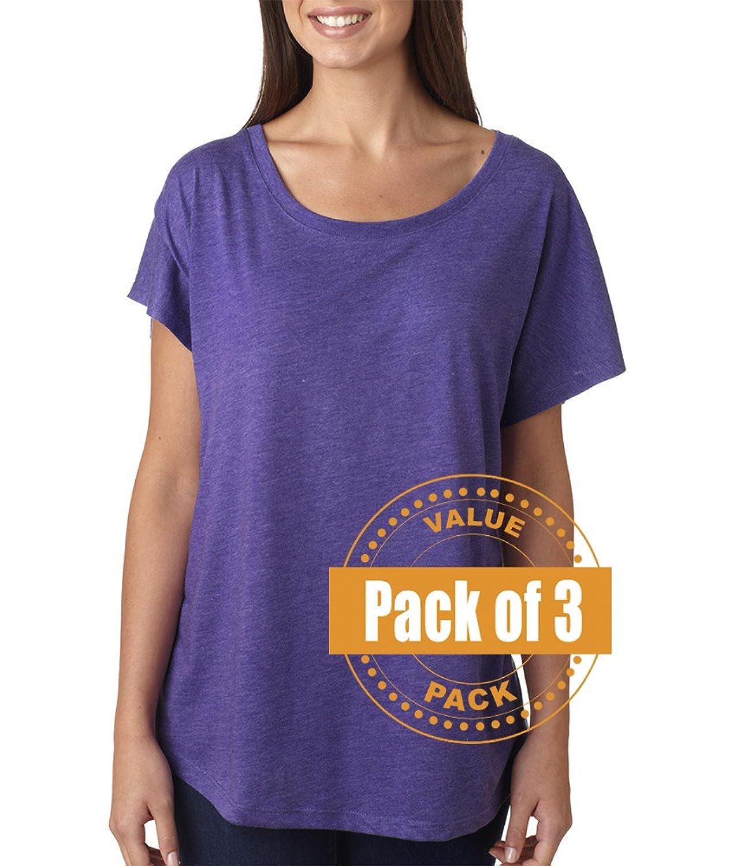 Next Level Womens Tri-Blend Dolman 6760-Purple Rush (3 Pack)