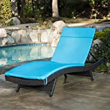 Olivia Outdoor Grey Wicker Adjustable Chaise Lounge with Blue Cushion