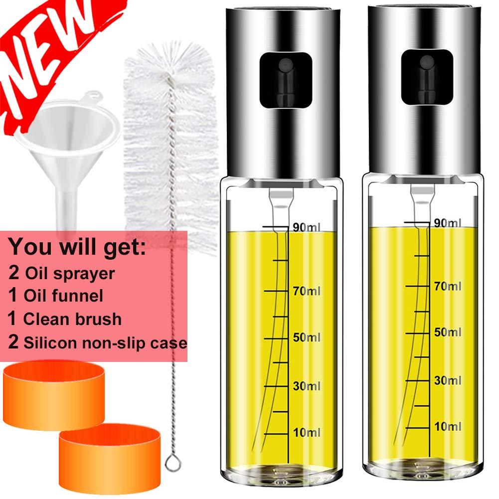 Olive Oil sprayer Mister for Cooking: 3.4-Ounce Capacity Food-grade Glass Bottle Vinegar Mist Spray Dispenser for BBQ Salad Baking Roasting Grilling Frying-Bonus a Cleaning Brush by HLDJYB