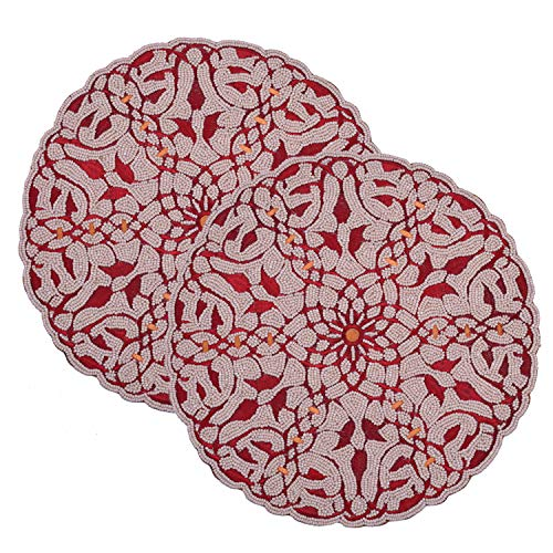 Decozen Embroidered Beaded Placemat 14
