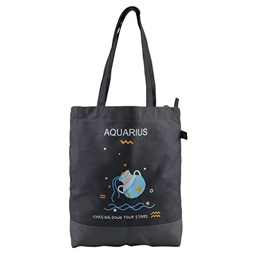 Faleto Canvas Tote Bag with Zipper Bulk Handbag-12 Constellations Zodiac Signs- Bag Shoulder Shopping Bags for Women and Kids