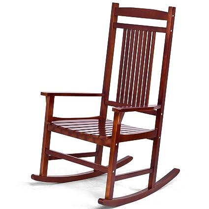 Genial Giantex Rocking Chair Solid Wood Rocker Indoor Outdoor Porch Patio  Furniture (Brown)