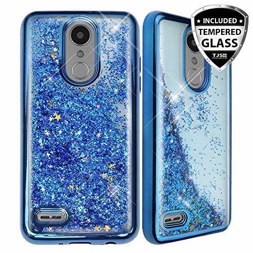 LG ARISTO 2 X210 Case, LG Tribute Dynasty Case, LG REBEL 3 LTE Case, LG Zone 4 Case, With TJS [Full Coverage Tempered Glass Screen Protector] Creative Luxury Bling Glitter Sparkle Liquid Case (Blue)