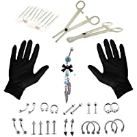 37pcs Jewelry accessories Set 16G Belly Body Ring Needle Sets Cartilage Tools Piercing Tools Kit