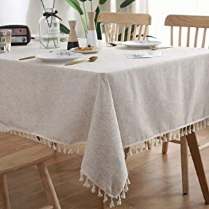 AMZALI Washable Cotton Linen Tablecloths Fabric Tassel Tablecloth Dust-Proof Table Cover for Kitchen Dinning Tabletop Home Decoration (Rectangle/Oblong, 55 x 87Inch, Linen)