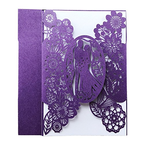 Laser Cut Wedding Invitations 40 pack, FOMTOR Laser Cut Wedding Invitation Card Kit with Blank Printable Papers and Envelopes Purple -