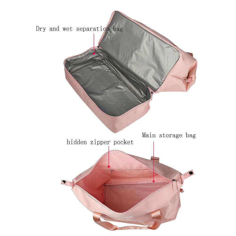 Teng Peng Sports Luggage Female Hand Short Travel Bag Light Travel Sports Fitness Bag Female Tide Wear Trolley Bag Pink//Black Sports Gym Bag Color : A
