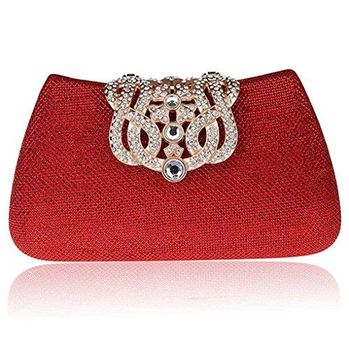 KAXIDY Bolsa de Embrague Bolso de Tarde Bolsa mensajero Cartera de mano para Mujer (Dorado) Rojo
