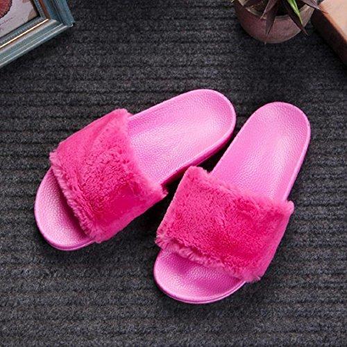 Sunfei Para Mujer Para Mujer Slip On Sliders Esponjoso De Piel Sintética Plana Sandalias Flip Flop Sandal Hot Pink