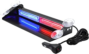 Aluminum Red Blue LED Emergency Strobe Dash Lights for Cars Truck POV Police Officer Law Enforcement First Responder with Suction Cups, WOWTOU 24W Interior Front Windshield Rear Window Safety Warning