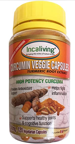 Peruvian Curcumin Capsules by Incaliving 120ct – High Potency Curcuma 100 Organic Turmeric Root Extract with 99 Curcuminoids and Black Pepper Extract