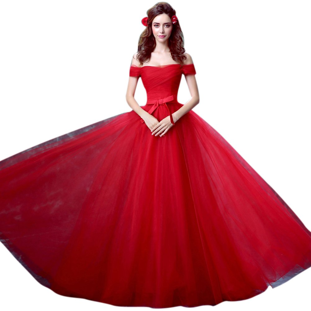 d43dcfb259 Vimans® Girl s Sexy Long Train Red Tulle Evening Bridal Dresses with Bowknot   Amazon.co.uk  Clothing