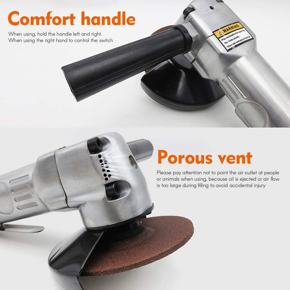 Carrfan Car Angle Grinder Pneumatic Tool 4 Inch with Disc Polished Piece Polishing//Cutting 11000rpm Strong Smooth Light for Automobile Motorcycle Beauty Mechanics